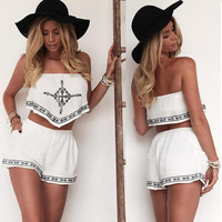 Sexy Women Strapless Embroidery Irregular Crop Tops Elastic Waist Pocket Shorts Two Piece Set SV022566 [7956021127]