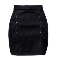 Black Faux Suede Lace Up Side Pencil Skirt