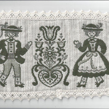 Green and Ivory Woven Folk Doily with Lace Trim from Austria, Cotton and Linen, 14 x 7 Inches, Man and Woman in Folk Costumes
