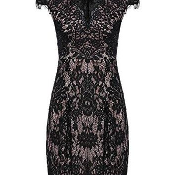 ROMWE Women's Gorgeous V neck A Line Sexy Short Cap Sleeve Lace Dress