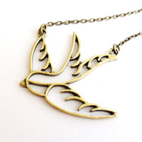 Swallow Necklace, Bird Necklace in Antique Bronze Rockabilly Retro Sailor Tattoo Vintage Style