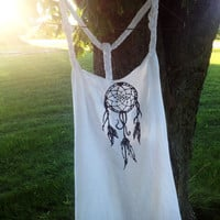 White Dream Catcher Racer Back Tank