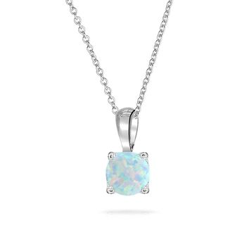1CT Square Princess Cut Created Opal Pendant Necklace Sterling Silver