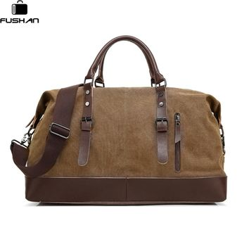 FUSHAN Canvas Leather Men Travel Bags Carry on Luggage Bags Men Duffel Bags Travel Tote Large Weekend Crossbody Bag Overnight