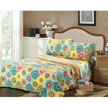 Tache 2-3 Piece Geo Multi Spring Flower Reversible Bedspread Set (SD3199)
