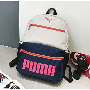 PUMA New fashion letter print couple backpack bag Gray