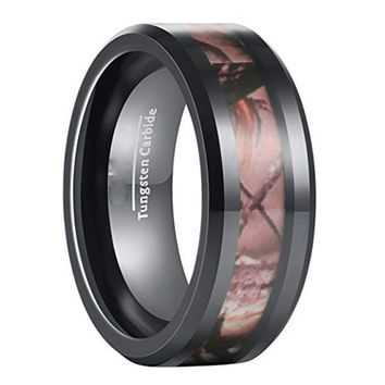 CERTIFIED 8mm Black Camo Hunting Camouflage Tungsten Ring Wedding Band