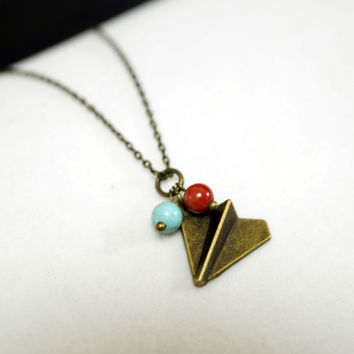 Tiny Bronze Paper Flight Necklace - Retro Bronze Plane Jewelry - Children Jewelry Children Necklace Gift For Son Jasper Turquoise Necklace