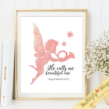 Nursery Bible verse Angel wall art print Christian scripture wall decor print, nursery wall sayings, kids wall art, 8x10, 5x7, 11x14 print