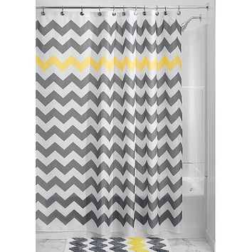 Grey Yellow White Chevron Zig Zag Stripe 72-inch Shower Curtain