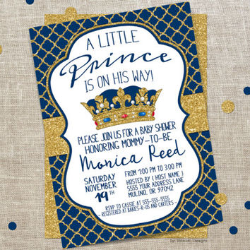 Royal baby shower invitations, Royal Shower invitation, Baby shower invitation boy, Royal baby shower, Prince baby shower invitation, Blue