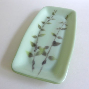 Fossil Vitra Fused Glass Tray in Chalky and Celadon Green