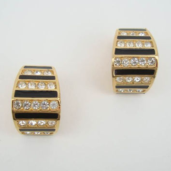 Christian Dior Black Enamel Rhinestones Huggie Clip On Earrings Designer Jewelry