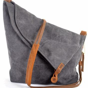 Fashion Korean Vintage military canvas leather Women Messenger Bag canvas shoulder bag for women Crossbody bag Sling Casual bag