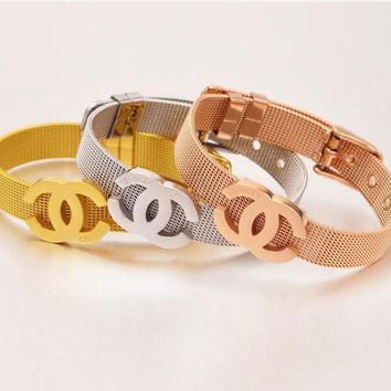 Chanel Popular Women Men Fashion Logo Titanium Steel Bracelet Jewelry(3-Color)