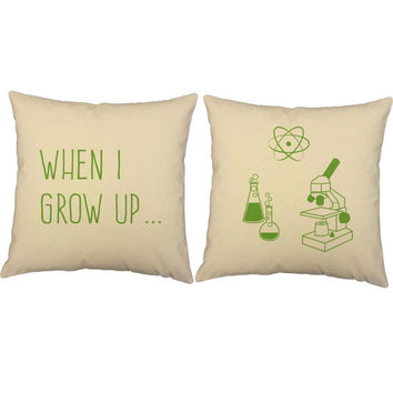 Set of 2 Kid's Science Pillows - When I Grow Up Science Print Pillow Covers and or Cushion Inserts, Children's Decor, Scientist Print Pillow