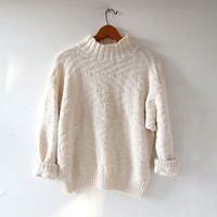 vintage creamy white sweater. slouchy cotton sweater. pullover loose knit sweater.