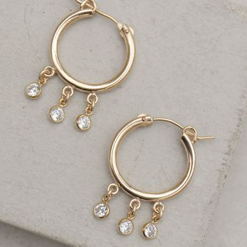 Dangle Hoops - Gold Filled