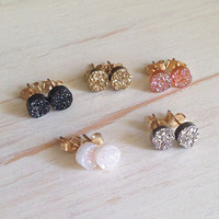 Druzy Studs Black Druzy Earrings Druzy Jewelry Tiny Druzy Studs