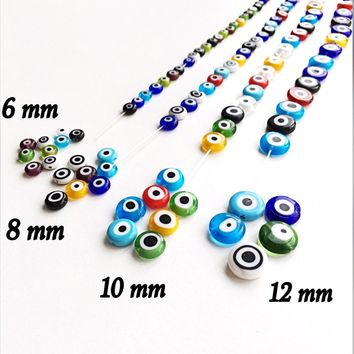 Mixed color evil eye 6mm to 12mm - flat glass beads - evil eye set of 30 to 55 beads - Flat evil eye - Greek evil eye - diy jewelry supplies