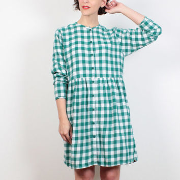 Vintage 90s Dress Green White Buffalo Plaid Mini Dress Soft Grunge Dress Flannel Shirt Babydoll Dress 1990s Dress Gingham M Medium L Large