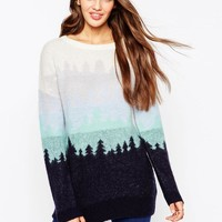 ASOS | ASOS Sweater With Ombre Holidays Trees at ASOS