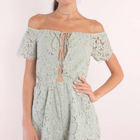 Julie Off Shoulder Lace Up Romper