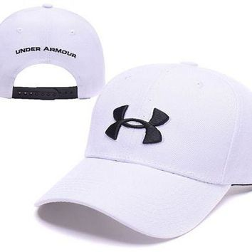 DCCKUNT White Under Armour Embroidered Outdoor Baseball Cap