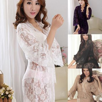 Women's Sexy See-Through Lace Sleepwear Robes