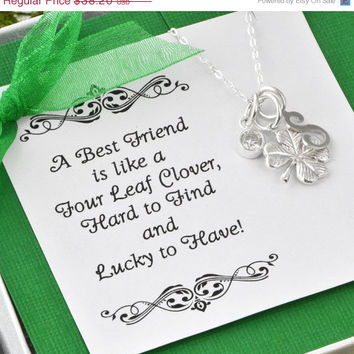 Mothers Day Sale Four Leaf Clover Necklace w/ gift box - Lucky Charm Necklace - Friendship Charm - Bridesmaid Gift - Best Friend Gift