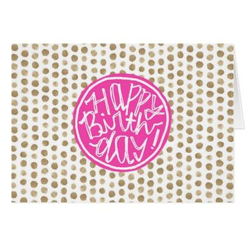 Gold Polka Dots Pattern | Fuchsia Happy Birthday Card