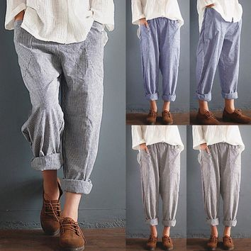 Women High Waist Vintage Striped Loose Cotton Linen Long Trousers Harem Pants