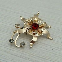 Vintage 10k GF Goldtone Ruby Red Crystal Rhinestone Flower Brooch Pin
