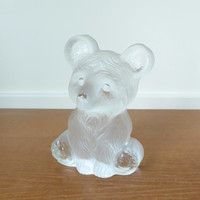 Viking Glass large frosted teddy bear figurine, teddy bear paperweight