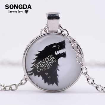 SONGDA Song of Ice and Fire Stark Wolf Logo Glass Cabochon Pendant Necklace Men Targaryen Dragon Game of Thrones Series Jewelry