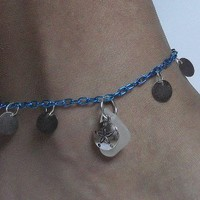 Sea Glass and Sand Dollar Anklet