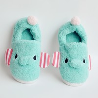 FunShop Women's Elephant Shape Blue Indoor Slipper D1117