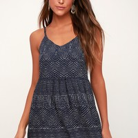 Nolan Navy Blue Print Dress