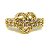 (1-3099-h5) Gold Overlay CZ Heart Ring.