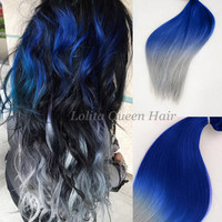 Atlantic Blue Ombre Human hair extensions,Blue and Grey two colors ombre Indian Remy hair weaving,Spring Curl,3 bundles hair weft one set