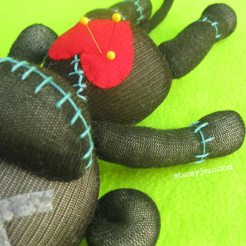 Black & Teal VooDoo Sock Doll - Handmade Plush - Halloween Horror Valentine Revenge Doll