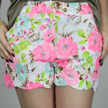 Neon Blossom Scallop Pocket Shorts