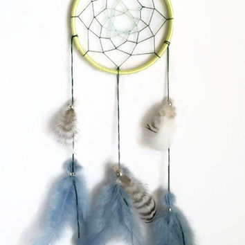Dream Catcher, Southwestern Decor, Native American Art, Yellow Dreamcatcher, Feathers, Bedroom Decor, Wall Art, Wall Hanging Decor