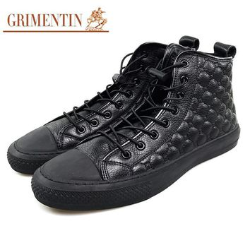 GRIMENTIN men leather casual boots genuine leather black formal shoes