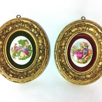 Vintage Oval Frames Ornate Frames Courting Couple Limoges Porcelain Gilt Frame Victorian Art Medallion Wall Plaques Cameos Made in Italy