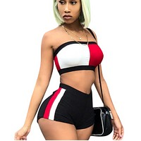 New Fashion Summer Contrast Color Sports Leisure Strapless Top And Shorts Two Piece Suit Red