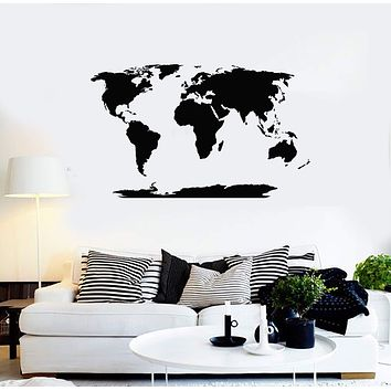 Vinyl Wall Decal World Map Atlas Room Home Office School Decor Stickers Mural (ig5411)