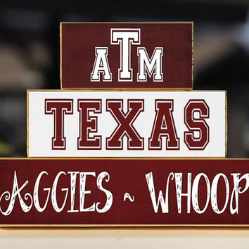 Texas A&M Aggies Whoop - Trio Wood Blocks Stack - Maroon/ White - Home Decor/Gift - College Station Texas - SEC - Gig 'em - Wooden Blocks