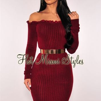 Wine Ribbed Knit Ruffle Off Shoulder Dress