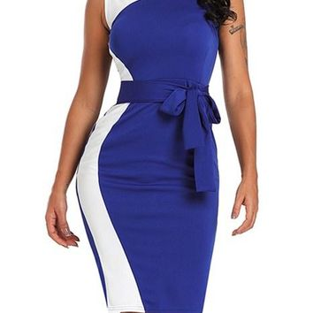 Asymmetric Blue White Patchwork Belted Sheath Office Dress